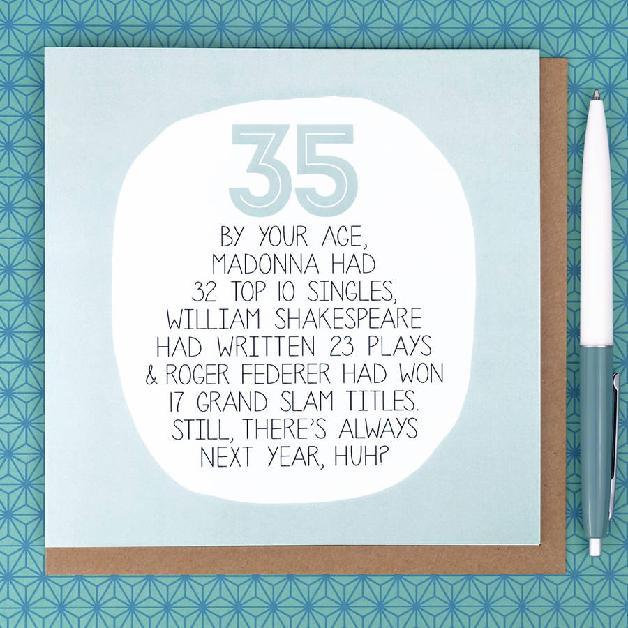 By Your Age Funny 35th Birthday Card Paper Plane