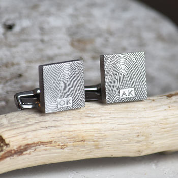 Fingerprint Square Steel Cufflinks For Dad