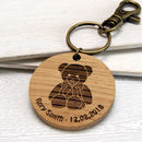 Personalised Teddy Bear Wooden Keyring