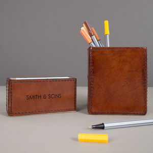 Personalised Deluxe Leather Desk Set Mini