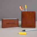Personalised Leather Desk Set Mini Two Colours