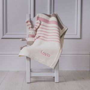 Personalised Organic Blanket And Knitted Bunny Toy - baby's room