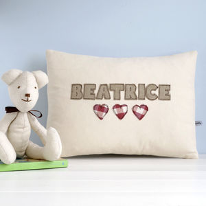 Personalised Name Cushion With Hearts - personalised cushions