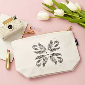 Personalised Feathers Make Up Pouch - make-up bags