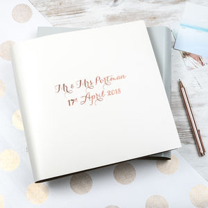 Modern Calligraphy Large Leather Guest Book - albums & guest books
