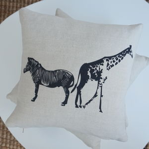 Giraffe And Zebra Linen Cushion - sale by category