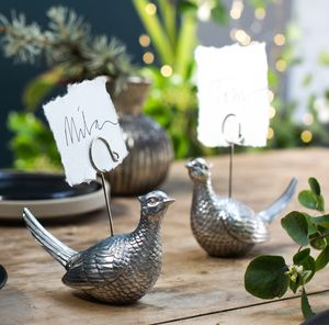 Silvered Pheasant Place Setting Holder - placecards