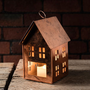 Dottevik Copper Tea Light House - decorative accessories