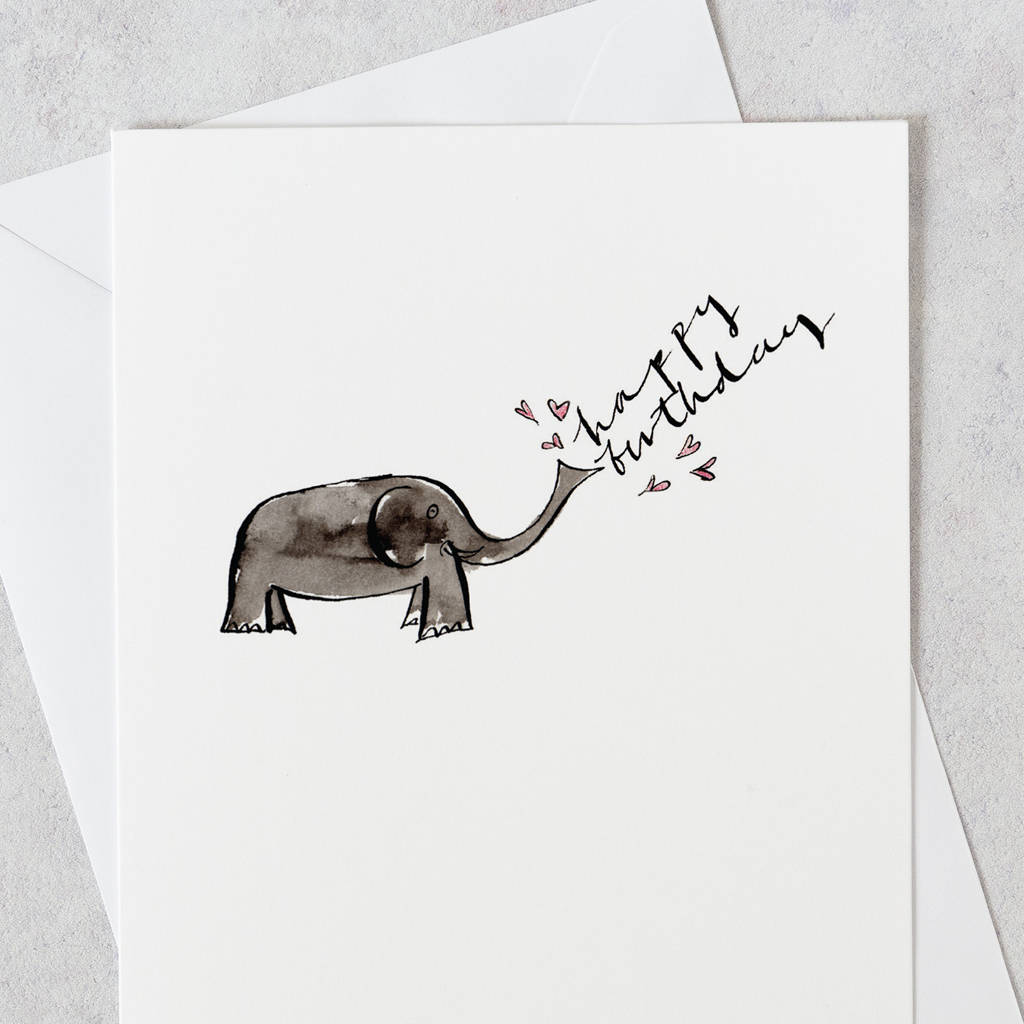 Birthday Card Elephant Happy