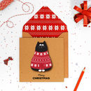 Handmade Red Jumper Cat Christmas Card Or Pack