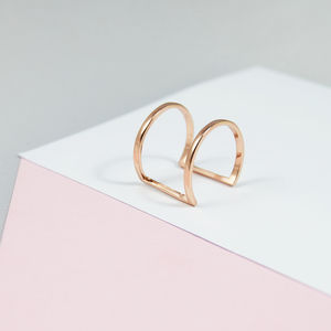 Double Bar Minimalist Curve Ring - rose gold jewellery