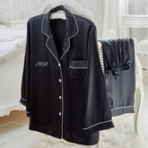 Black Satin Pyjama Set With Embroidered Initials - accessories