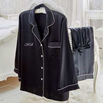 Black Satin Pyjama Set With Embroidered Initials