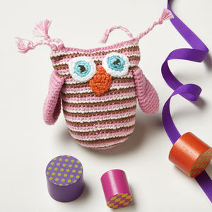 Boxed Crochet Owl Rattle Baby Gift
