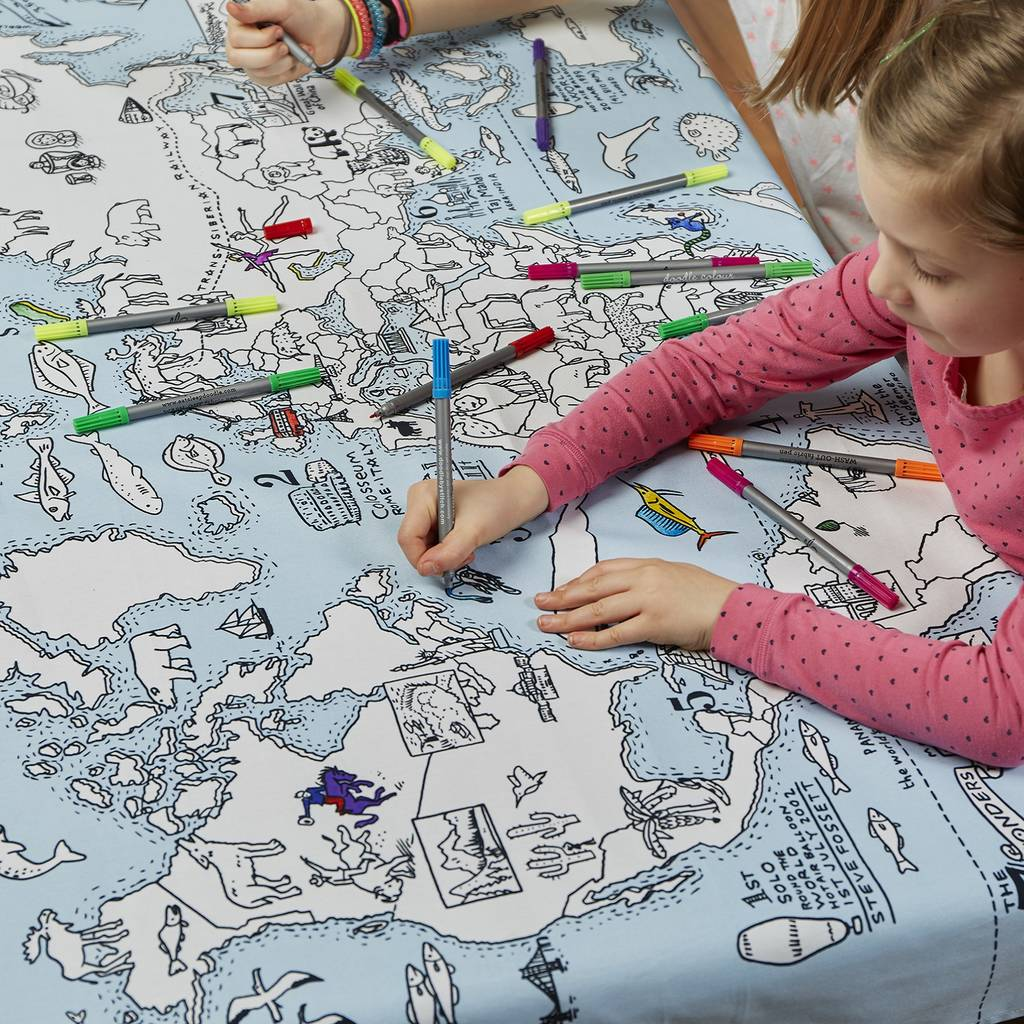 Colouring in world map - Colour In World Map Tablecloth