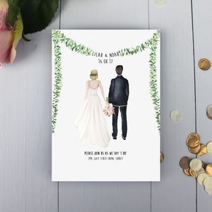 Personalised Couple Illustration Wedding Invitation - wedding stationery