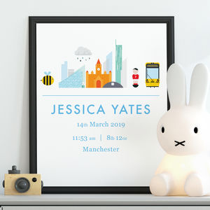 Personalised New Manchester Baby Birth Date Print