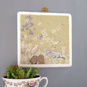 Songthrush And Trug Large Marble Wall Art - hanging decorations