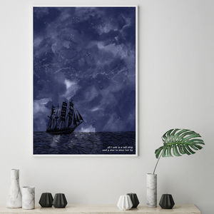 'A Tall Ship And A Star' Romantic Constellation Print - children's room