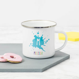 Personalised Initial And Name Enamel Mug - camping mugs