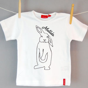 Personalised Rabbit Print Babygrow Or T Shirt