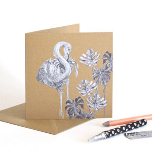 Caribbean Flamingo Recycled Greetings Card