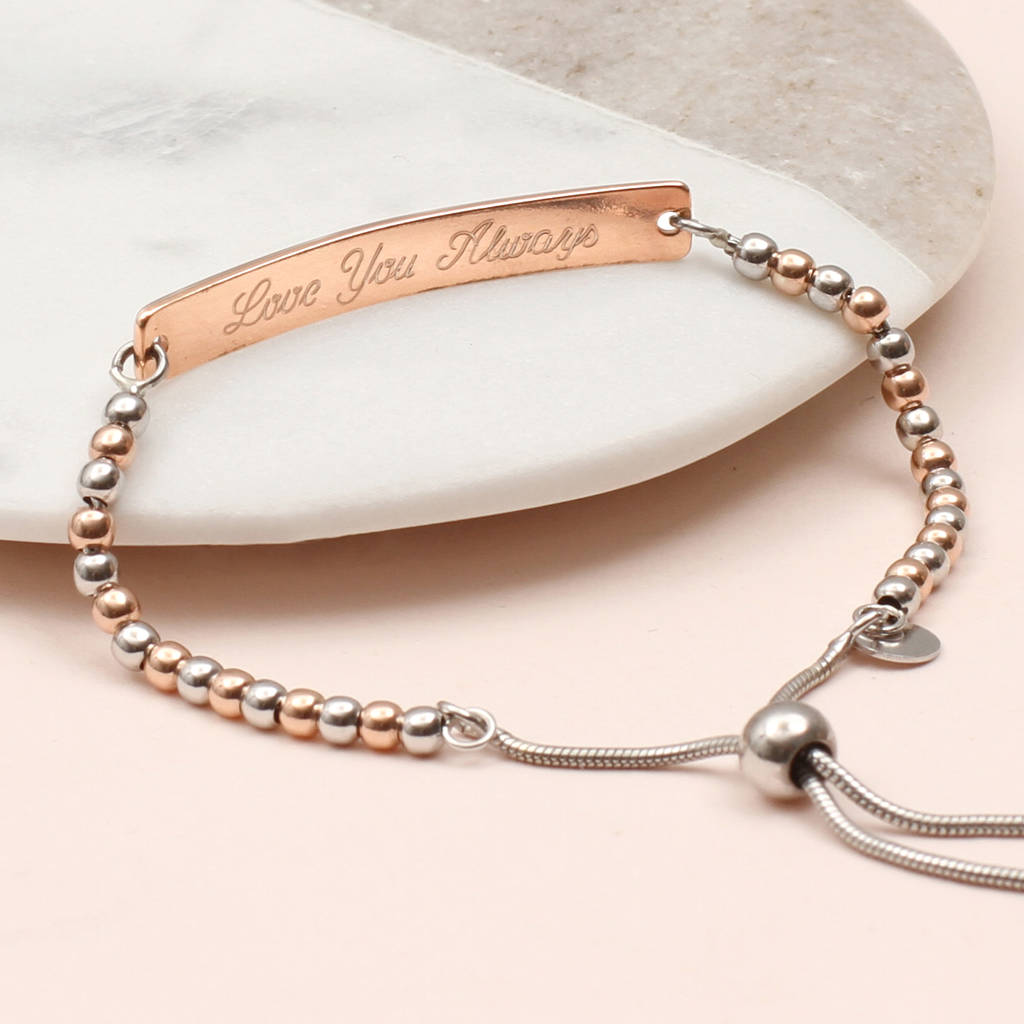 58a027f2dc2 personalised 18ct rose gold vermeil and silver bracelet by ...