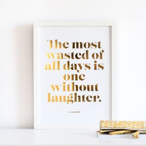 Laughter Copper Foil Poster - typography