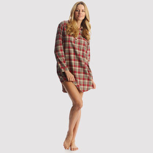Women's Brushed Cotton Red Tartan Nightshirt - lingerie & nightwear