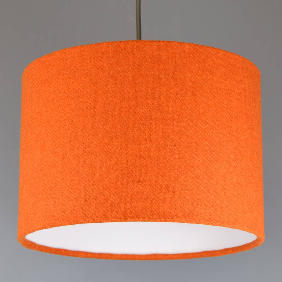 Attractive Orange Harris Tweed Wool Lampshade