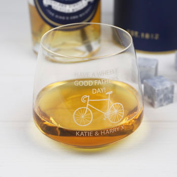 Personalised 'Wheely Good Father's Day' Whisky Glass
