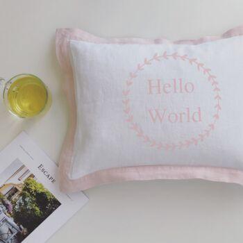 Personalised´Hello World´Cushion With Floral Wreath