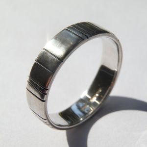 Silver Barcode Oxidized Mens Ring