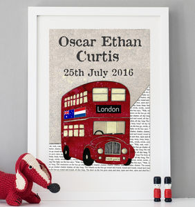 Personalised Birth Date Red Bus Print - gifts for babies