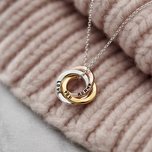 Personalised Mixed Gold Mini Russian Ring Necklace - necklaces & pendants