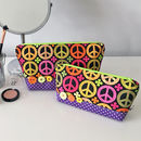 Peace Sign Printed Fabric Makeup Bag