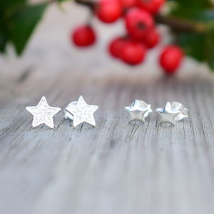 925 Silver Double Star Stud Earring Set - children's jewellery