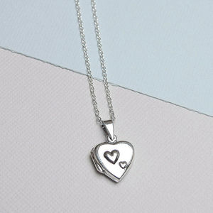 Sterling Silver Duo Hearts Locket - new in jewellery