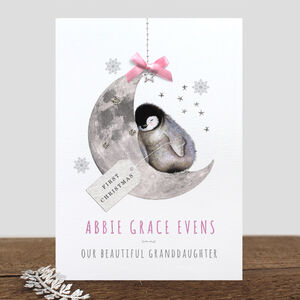 Personalised 'Baby's First Christmas' Penguin Card