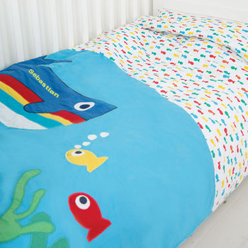 Personalised Organic Cot Bed Whale Duvet Set