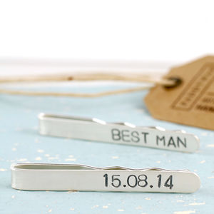 Personalised Silver Wedding Tie Clip - men's jewellery