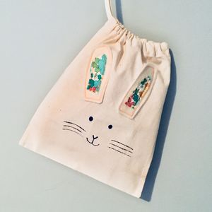 Easter Rabbit Egg Hunt Drawstring Bag