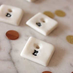Mini Porcelain Initial Tag