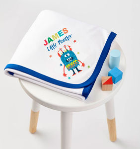 Boys Personalised Little Monster Blanket