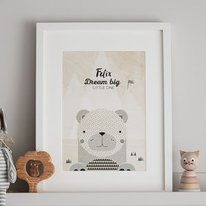 Personalised Kids Bedroom Print Bear - christening gifts