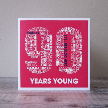 Ninety Years Old Personalised Birthday Card 90th