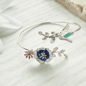 Humming Bird And Flower Bangle