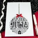 Personalised Sister Christmas Bauble Card
