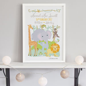 Jungle Animals Birth Print - for little adventurers