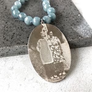 Personalised Photo Memory Necklace With Blue Agate